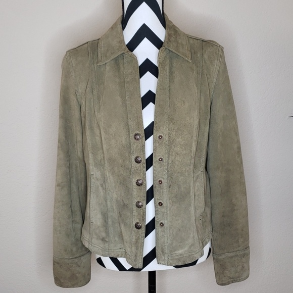 Live a Little Jackets & Blazers - Green Sueded Leather Jacket w/ Snaps